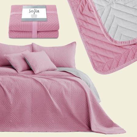 Rózsaszín steppelt kétoldalas ágytakaró franciaágyra (200x220)