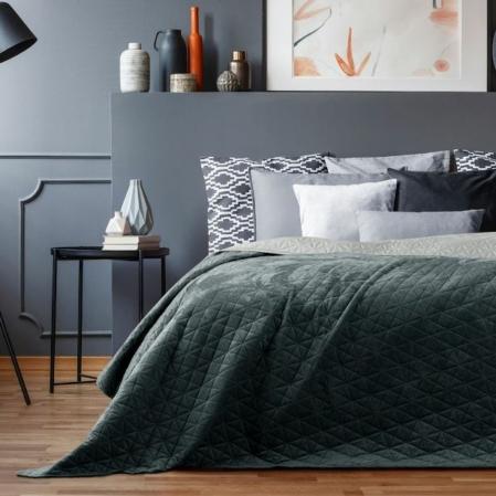 Grafit ezüst kétoldalas steppelt ágytakaró