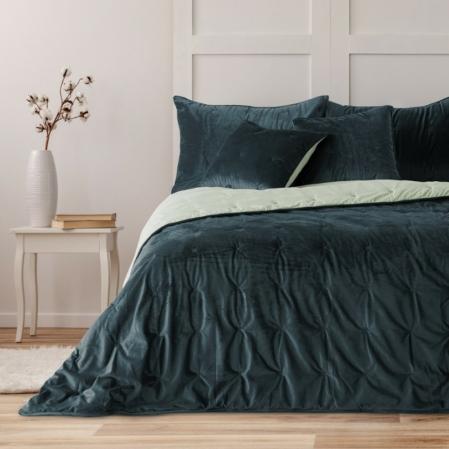 Petrol kék prémium ágytakaró franciaágyra