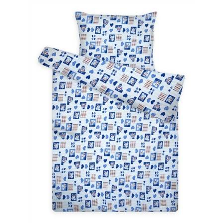 Kék szívecskés pamut krepp ovis ágyneműhuzat