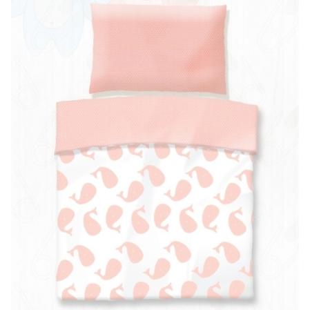 Rózsaszín bálna gyerek pamut ágyneműhuzat