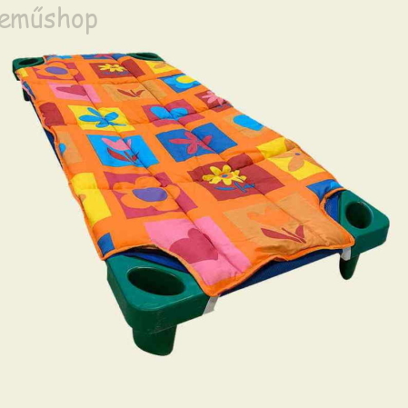 Narancssárga virágos steppeltt derékalj óvodai fektetőre ovis ágyra