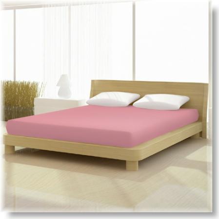 Matt rózsaszín pamut elastan classic gumis lepedő alacsony matracra
