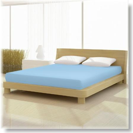 Kék pamut elastan classic gumis lepedő alacsony matracra