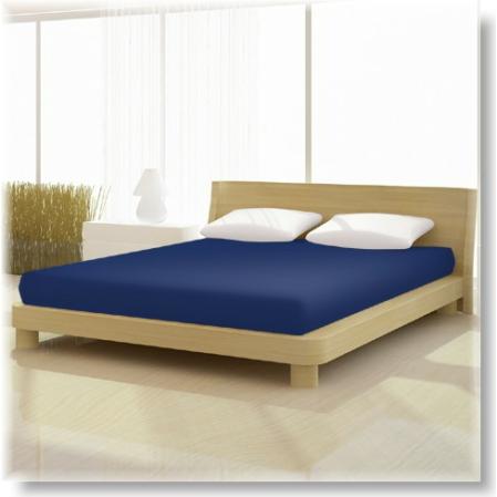Éj kék pamut elastan classic gumis lepedő alacsony matracra