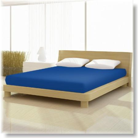Tengerész kék pamut elastan classic gumis lepedő alacsony matracra