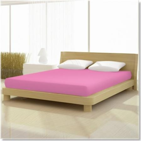 Pamut jersey de luxe gumis lepedő 120x200 és 130x200 cm-es matracra sötét rózsaszín