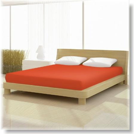 Pamut jersey de luxe gumis lepedő 120x200 és 130x200 cm-es matracra kármin vörös színű