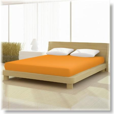 Pamut jersey de luxe gumis lepedő 120x200 és 130x200 cm-es matracra mandarin színű