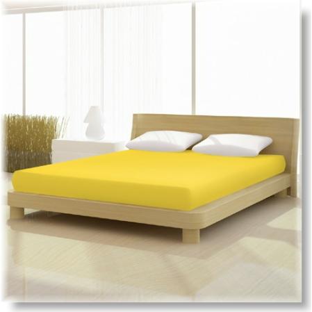 Pamut jersey de luxe gumis lepedő 120x200 és 130x200 cm-es matracra citromsárga