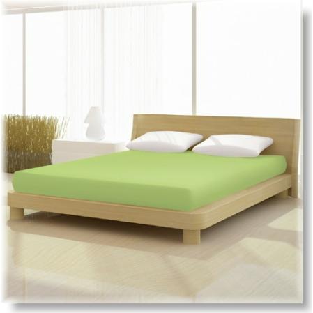 Kiwi zöld pamut elastan classic gumis lepedő alacsony matracra