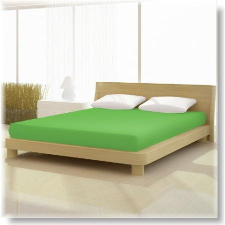 Pamut jersey de luxe gumis lepedő 120x200 és 130x200 cm-es matracra lime zöld
