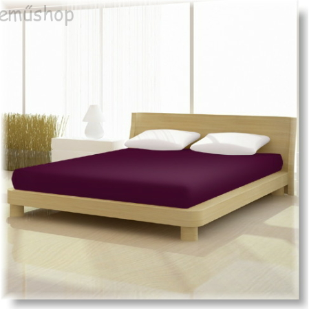 Pamut jersey de luxe gumis lepedő 120x200 és 130x200 cm-es matracra padlizsán lila