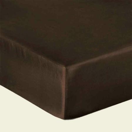 Csoki barna pamutszatén gumis lepedő
