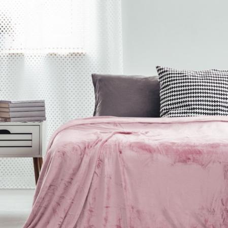 Rózsaszín bársonyos ovispléd (70x150)