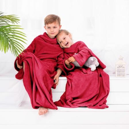 Piros  gyerek belebújós pléd