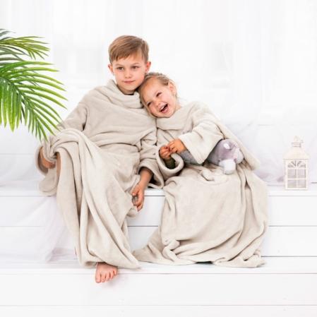 Bézs színű gyerek belebújós pléd