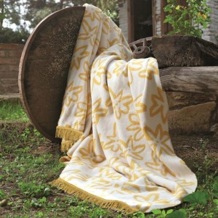 Modern sárga virágos puha pamut pléd