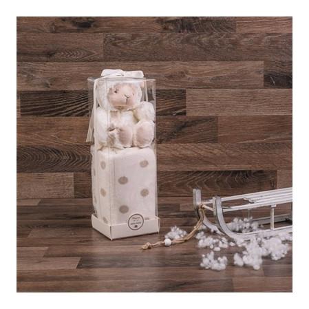 Bézs pöttyös puha plüss baba pléd barikával